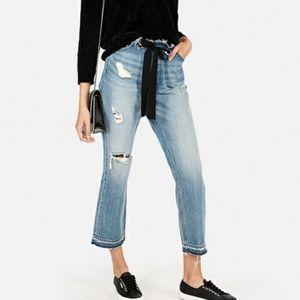 Express Belted Straight Ankle High Rise Jeans